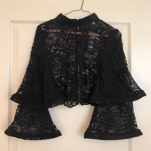 Black Lace Tiered Ruffled Sleeve Crop Blouse NWT